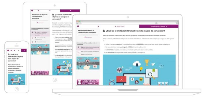 Cursos online de universidad ecommerce multi-dispositivo
